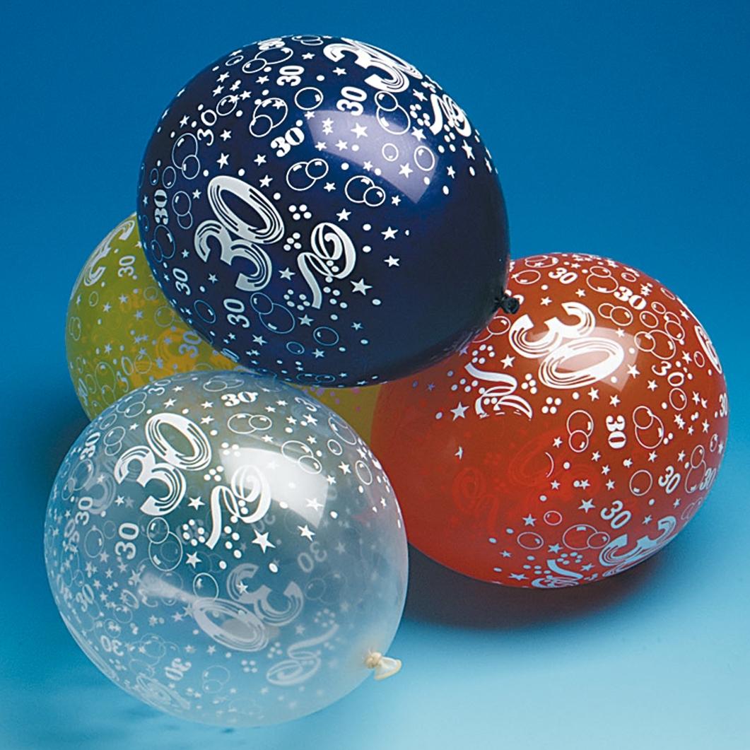 10 luftballons zahl 30 geburtstag deko partydeko bunt ebay. Black Bedroom Furniture Sets. Home Design Ideas