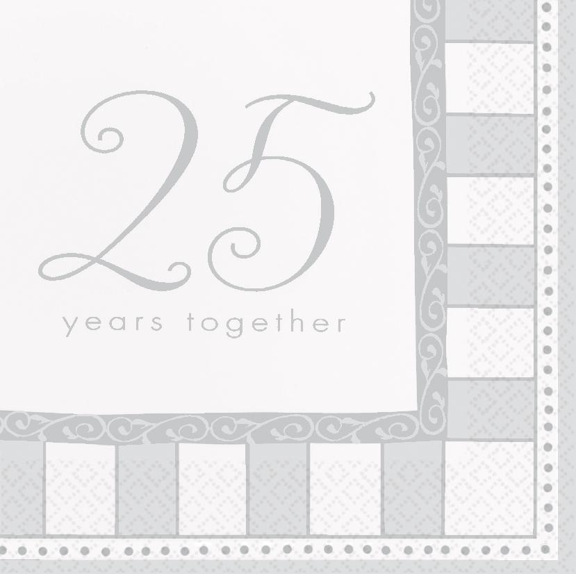 Servietten silber hochzeit deko 25 party geburtstag ebay for Deko 25 geburtstag