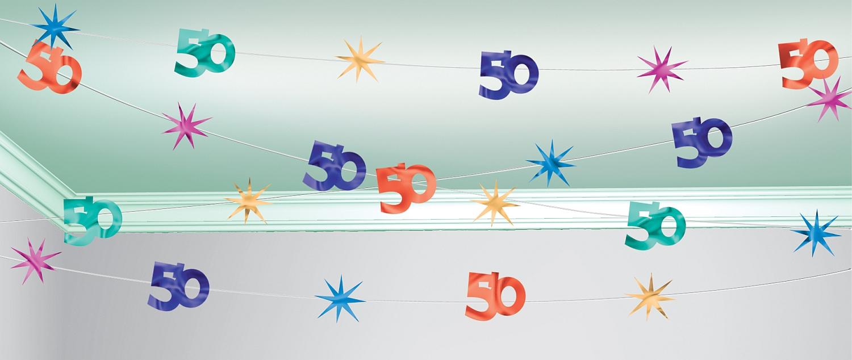 30 meter decken girlande 50 geburtstag party deko jubil um jahrestag zahl 50 ebay. Black Bedroom Furniture Sets. Home Design Ideas