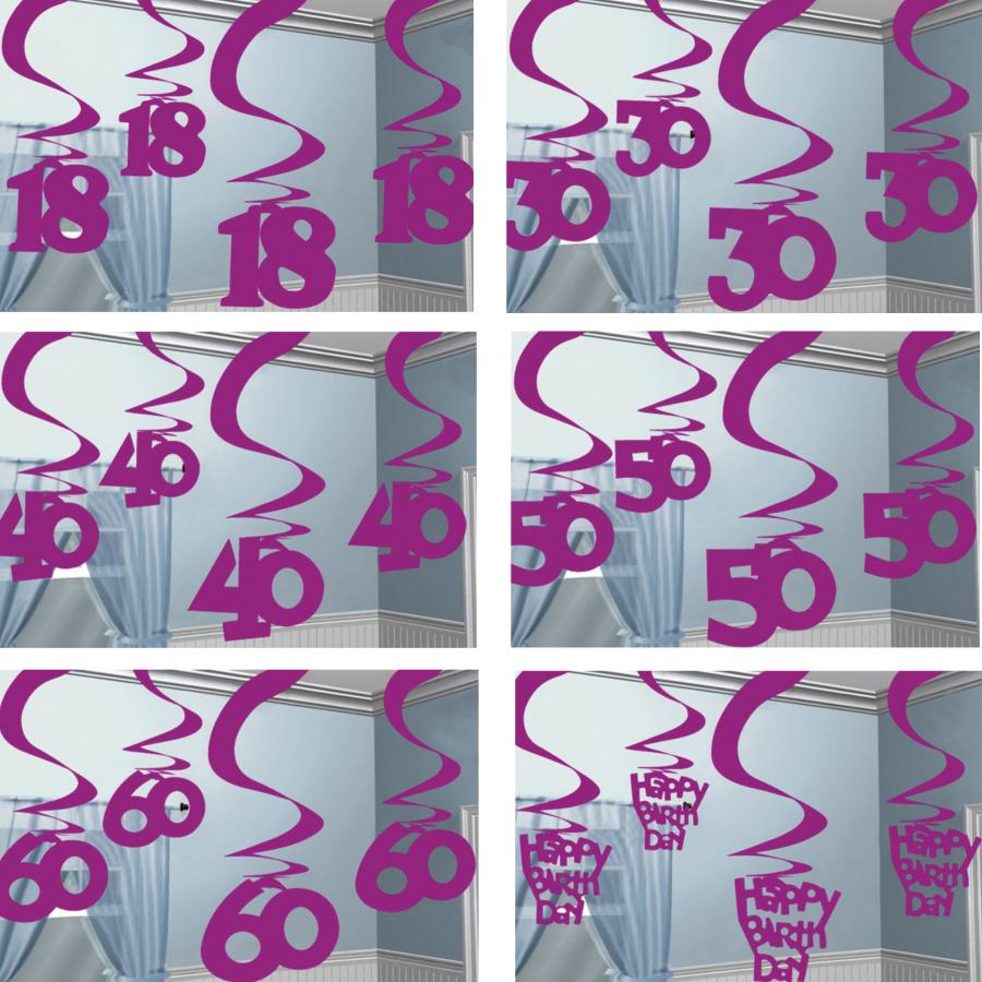Pink Party Deko Set Tischdeko Zahl 18 30 40 50 60